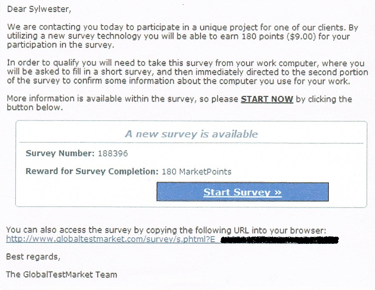GlobalTestMarket Nine Dollar Survey Invitation